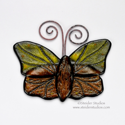 Steider Studios:  Art Glass Butterfly, Yellow, Orange on Black